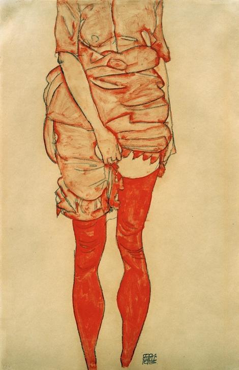 """Schiele, Egon 1890–1918. """"Stehende Frau in Rot"""", 1913. Gouache, Aquarell und Graphit, 48,3 × 32,4 cm. Privatbesitz."""