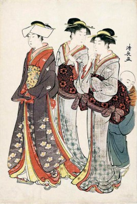 A Young Lady and her Two Maids - Torii Kiyonaga