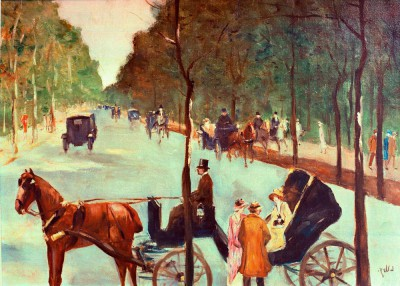 Alley in the Tiergarten with coaches - Lesser Ury