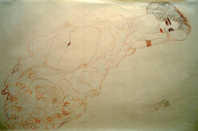 AUF DEM BAUCH LIEGENDER AKT NACH RECHTS - Gustav Klimt