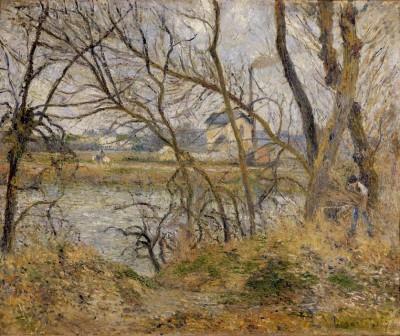 Bank of the river Oise, near Pontoise, grey sky - Camille Pissarro
