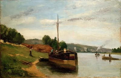 Barges on the Seine - Camille Pissarro