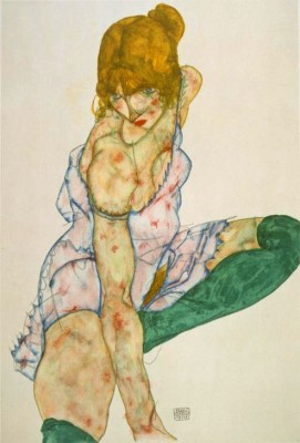 Blond girl with green stockings - Egon Schiele