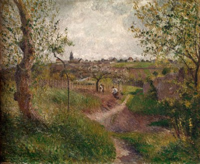 Chemin montant a travers champs - Camille Pissarro
