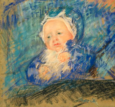 Child on a Blue Cushion - Mary Cassatt