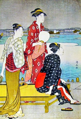Cooling off by the Riverside III - Torii Kiyonaga