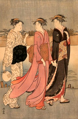 Cooling off near the river bank - Torii Kiyonaga