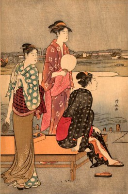 Cooling off near the river bank II - Torii Kiyonaga