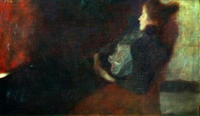 DAME AM KAMIN - Gustav Klimt