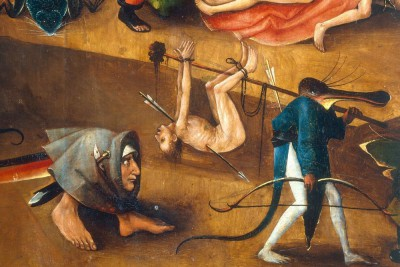 Das Weltgericht Ungeheuer mit einem durchbohrten Verdammten - Hieronim Bosch