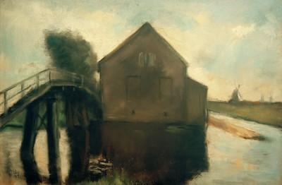 Dutch landscape with windmills - Lesser Ury