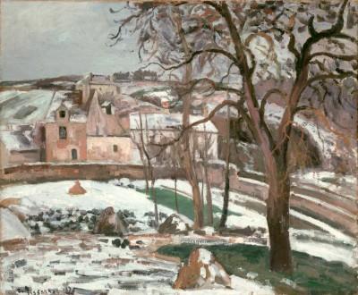 Effet de Neige à L'Hermitage, Pontoise - Camille Pissarro