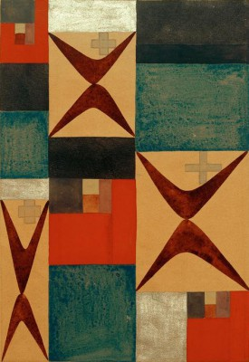 Elements of tension and a vertical-horizontal composition - Sophie Taeuber-Arp
