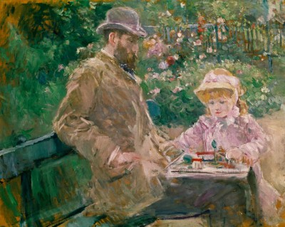 Eugene Manet and his daugher in the garden at Bougival - Berthe Morisot