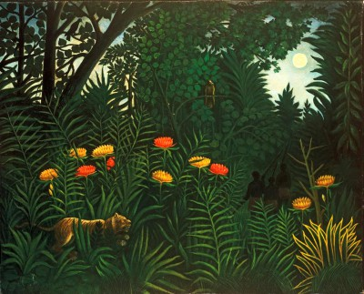 Exotic landscape with tiger and hunters - Henri Rousseau