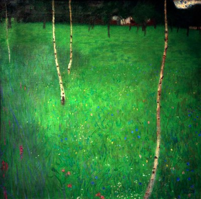 FARMHOUSE WITH BIRCH TREES PAINTING - Gustav Klimt