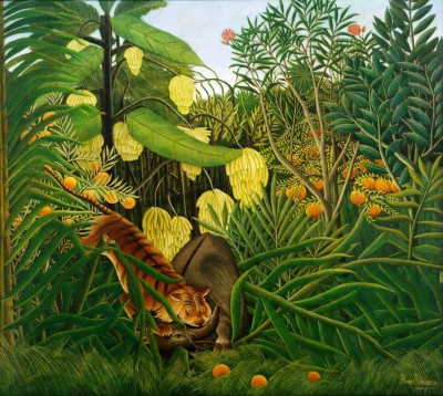 Fight between a tiger and a buffalo - Henri Rousseau