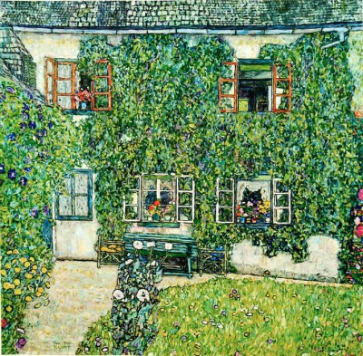 FORESTER'S LODGE, LAKE ATTERSEE PTNG. - Gustav Klimt