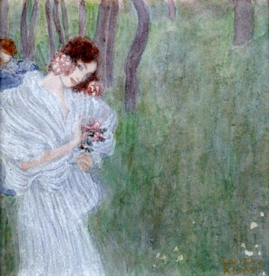 GIRL WITH FLOWERS ON THE EDGE OF A WOOD - Gustav Klimt