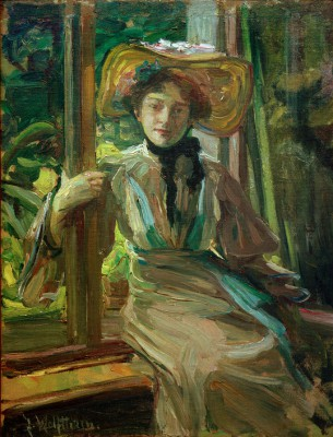Girl with hat in front of open window - Julie Wolfthorn