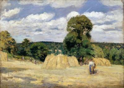 Grain Harvest in Montfoucault - Camille Pissarro