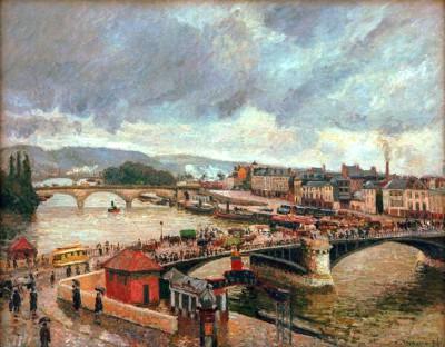 Grand Pont, Rouen, Rain - Camille Pissarro