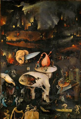 Hell - Detail. Right side wing of the triptych - Hieronim Bosch