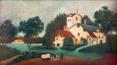 Horse Cart in front of the Mill - Henri Rousseau