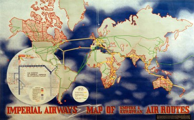 Imperial Airways Map of Empire and European Air Routes - László Moholy-Nagy