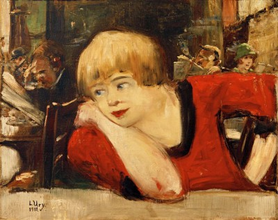 In the cafe. Woman in red - Lesser Ury
