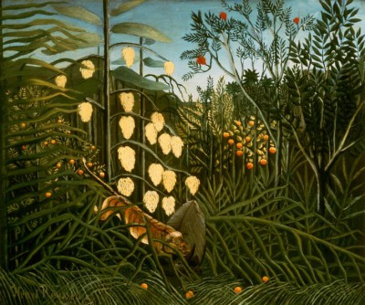 In the tropical forest. Fight between a tiger and a buffalo - Henri Rousseau