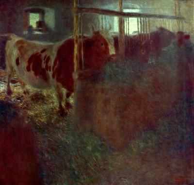KÜHE IM STALL - Gustav Klimt