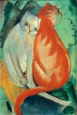 Katzen, rot und weiß - Franz Marc