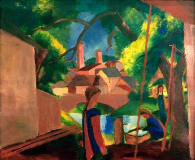Kinder am Brunnen mit Stadt im Hintergrund - August Macke