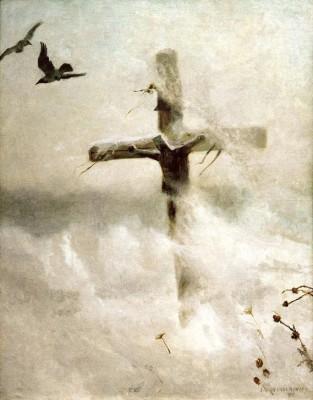 Krzyż w śnieżycy - Józef Chełmoński