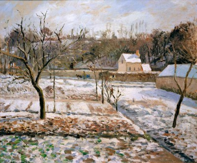 L'Hermitage, Pontoise, effet de neige - Camille Pissarro