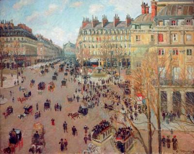 La Place du Théâtre Français, Effet du soleil - Camille Pissarro