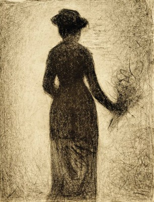 Lady with bouquet of flowers - Georges-Pierre Seurat