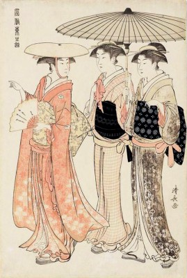 Lady with Two Female Attendants - Torii Kiyonaga