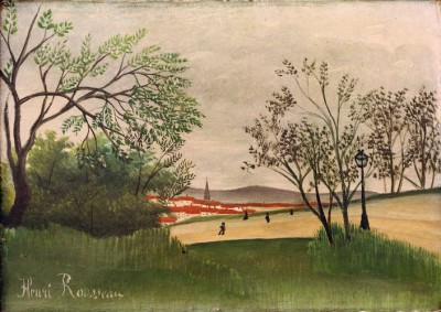 Landscape with church spire - Henri Rousseau
