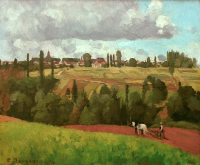 Landscape with peasant ploughing - Camille Pissarro