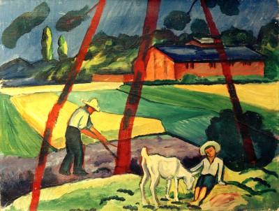 Landschaft mit Bauer, Junge und Ziege - August Macke