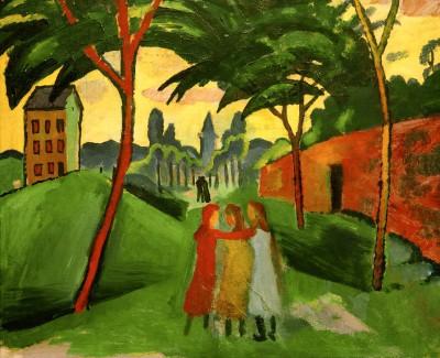 Landschaft mit drei Mädchen - August Macke