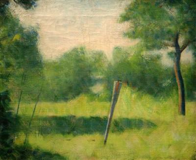 Landschaft mit einem Pfahl - Georges-Pierre Seurat