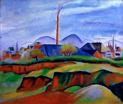 Landschaft mit Fabrik - August Macke