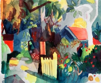 Landschaft mit hellem Baum - August Macke