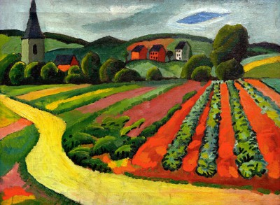 Landschaft mit Kirche und Weg - August Macke