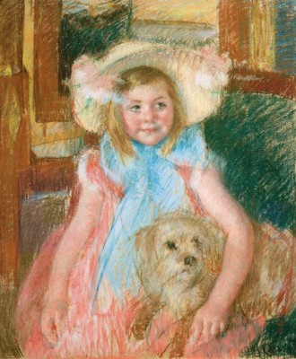 Little Girl in a Bonnet with a Dog - Mary Cassatt