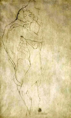 LOVERS, LYING TO THE RIGHT - Gustav Klimt