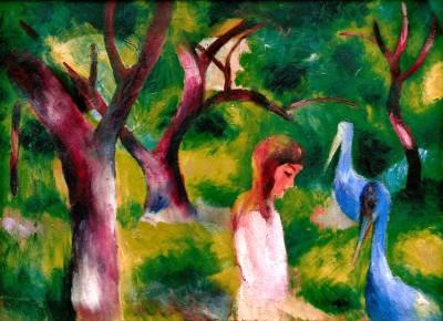 Mädchen mit blauen Vögeln - August Macke